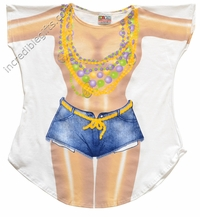 Mardi Gras Girl Cover-Up T-Shirt - Made in America
