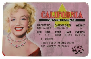 Marilyn Monroe ID - California Driver License - Click to enlarge