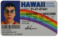McLovin Fake ID Hawaii Driver License - Superbad