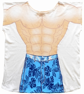 Mens Tropical Muscle Guy Coverup T-Shirt - Made in America - Click to enlarge