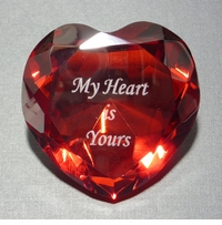 MY HEART IS YOURS HEART SHAPED PAPERWEIGHT, 3.125 INCHES IN DIAMETER, 1.5 INCHES TALL