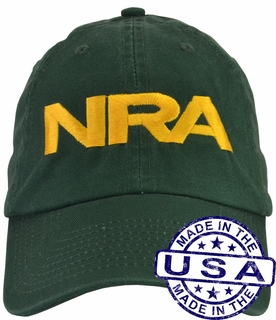NRA Hat - 100% Made in the USA - Green Strap Back - Click to enlarge