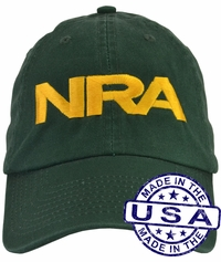 NRA Hat - 100% Made in the USA - Green Strap Back