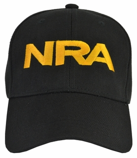 NRA Black Hat Gold Embroidered - Click to enlarge