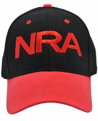 NRA Black Hat Red Brim and Red Embroidery