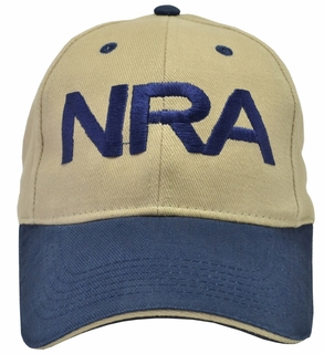 NRA Khaki Hat Blue Brim and Blue Embroidery - Click to enlarge