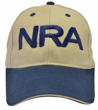 NRA Khaki Hat Blue Brim and Blue Embroidery