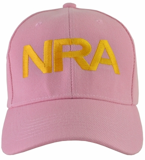 NRA Pink Hat Gold Embroidered - Click to enlarge