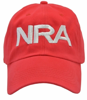 NRA Red Hat White Embroidered - Click to enlarge