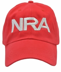 NRA Red Hat White Embroidered