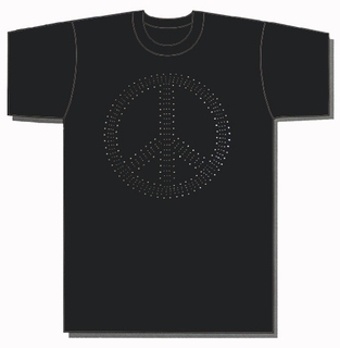 Peace Sign Metal Studded T-Shirt - Click to enlarge