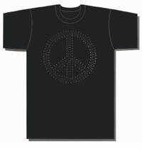 Peace Sign Metal Studded T-Shirt