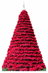 Poinsettia Christmas Tree Cardboard Cutout Life Size Standup