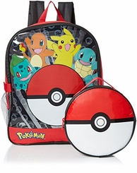 "Pokemon 16"" Pokeball Backpack with Lunch Bag"