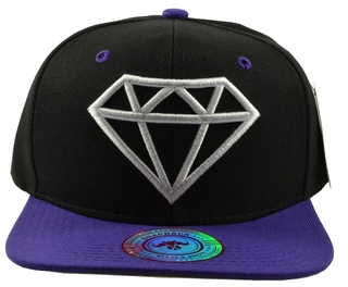 Diamond Black Hat Purple Brim White Embroidered SnapbackHat  - Click to enlarge