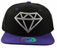Diamond Black Hat Purple Brim White Embroidered SnapbackHat