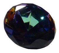 Purple & Green Iridescent 4 Inch Diamond Paperweight 100mm (Color Painted)