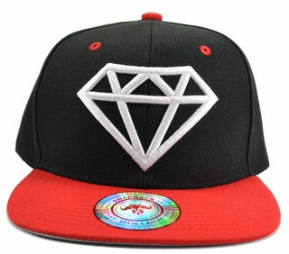 Diamond Black Hat Red Brim White Embroidered SnapbackHat  - Click to enlarge