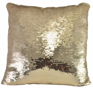 Mermaid Reversible Two-Toned Rose Gold Sequin Pillow - Click to enlarge