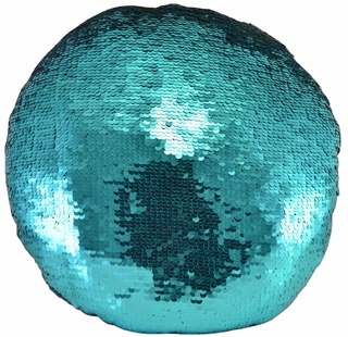 Mermaid Reversible Two-Toned Turquoise Sequin Pillow - Click to enlarge