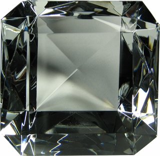 Emerald Cut Ruby Glass Diamond Paperweight 4 x 4 x 2 1/2 Inches - Click to enlarge