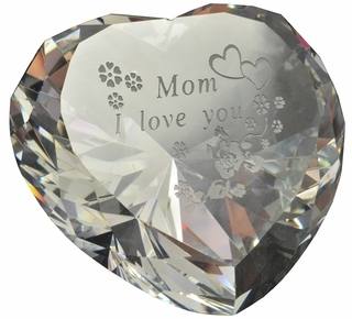 Sandblasted Engraved Heart Shaped Paperweight, 3.15 Inches in Diameter 80mm - Click to enlarge