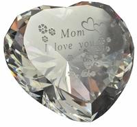 Sandblasted Engraved Heart Shaped Paperweight, 3.15 Inches in Diameter 80mm