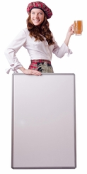 Scottish Woman with Sign Cardboard Cutout Life Size Standup