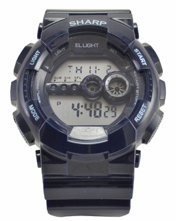 Sharp Blue Digital Chrono Watch With EL Backlight - Click to enlarge