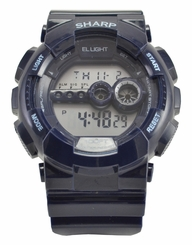 Sharp Blue Digital Chrono Watch With EL Backlight