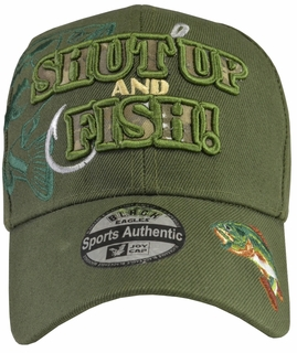 Shut Up and Fish Green hat with Green Embroidery - Click to enlarge