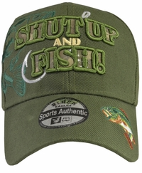 Shut Up and Fish Green hat with Green Embroidery