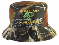 Shut Up and Fish Hunter Brown Bucket Hat