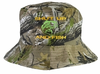 Shut Up and Fish Hunter Gray Bucket Hat