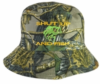 Shut Up and Fish Hunter Green Bucket Hat