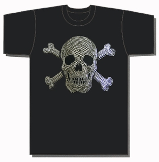 Skull and Bones Metal Studded T-Shirt - Click to enlarge