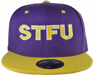 STFU Purple Snapback Hat with Yellow Brim - Click to enlarge
