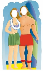 Surfboard Couple Stand-In Cardboard Cutout Life Size Standup