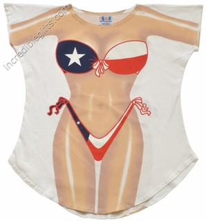 Texas Bikini Cover-Up T-Shirt - Made in America - Click to enlarge