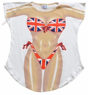 Union Jack Bikini Cover-Up T-Shirt - Made in America - Click to enlarge