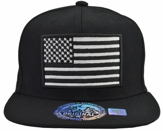 US Flag Black Hat Black Brim - Click to enlarge