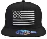 US Flag Black Hat Black Brim
