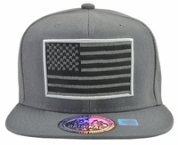 US Flag Grey Hat Grey Brim