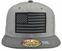US Flag Grey Twill Hat Dark Grey Brim