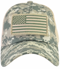 US Flag Micro Mesh Removable Patch Digital Green Camo Hat