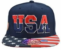 USA Blue Hat Stars and Stripes Brim
