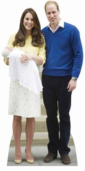 William, Kate and Baby Charlotte Cardboard Cutout Life Size Standup