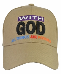 With God All Things Are Possible Tan Hat