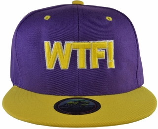 WTF! Purple Snapback Hat with Yellow Brim - Click to enlarge