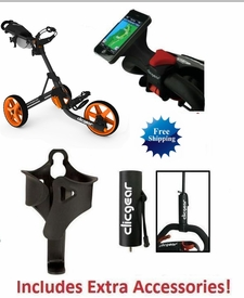 Clicgear 3.5+ Golf Push Cart Charcoal/Orange FREE XTRA ACCESSORIES